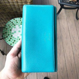 Gucci Blue Tumbled Leather Long Wallet